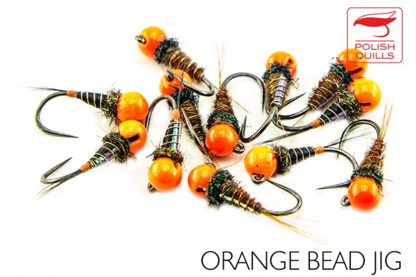Orange bead jig